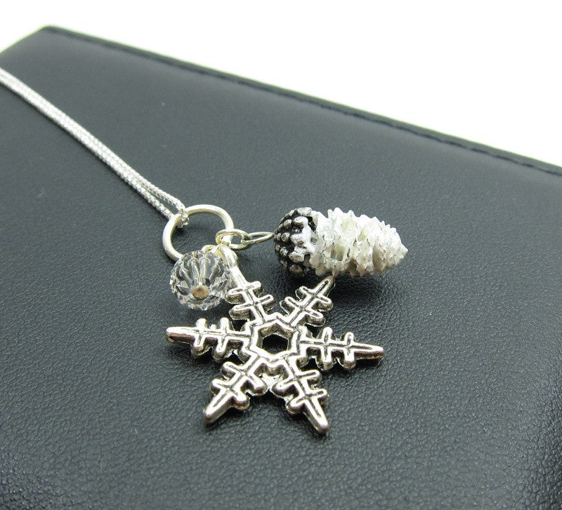 Snowflake Pine Cone Charm Necklace on Sterling Silver Chain
