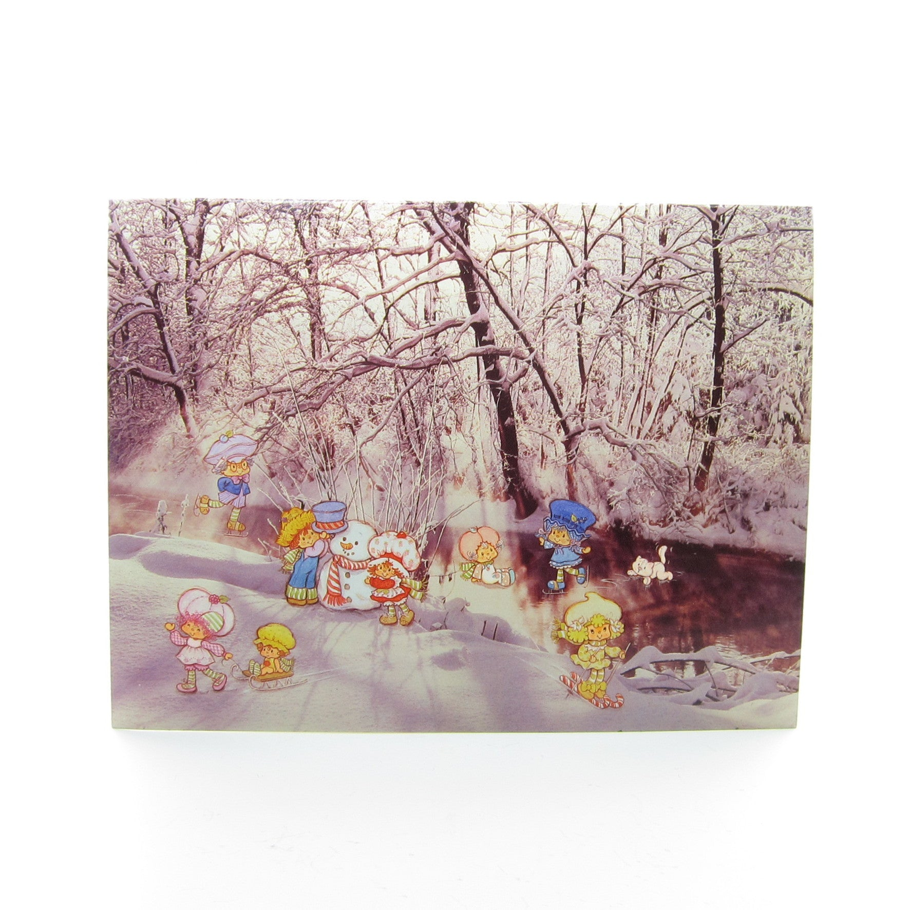Strawberry Shortcake & friends ice skating Christmas card