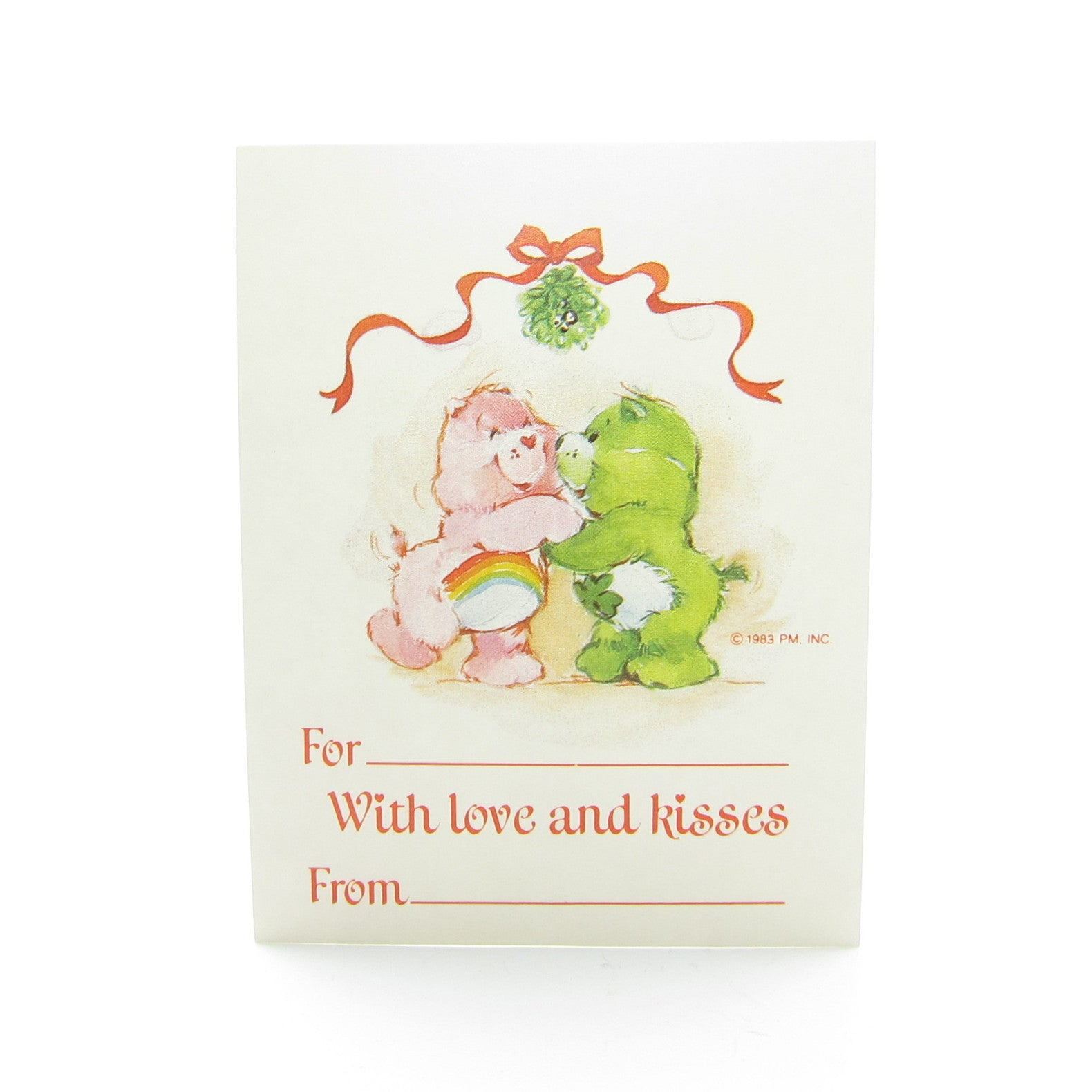 With Love and Kisses Care Bears Christmas gift tag with Cheer and Good Luck Bear