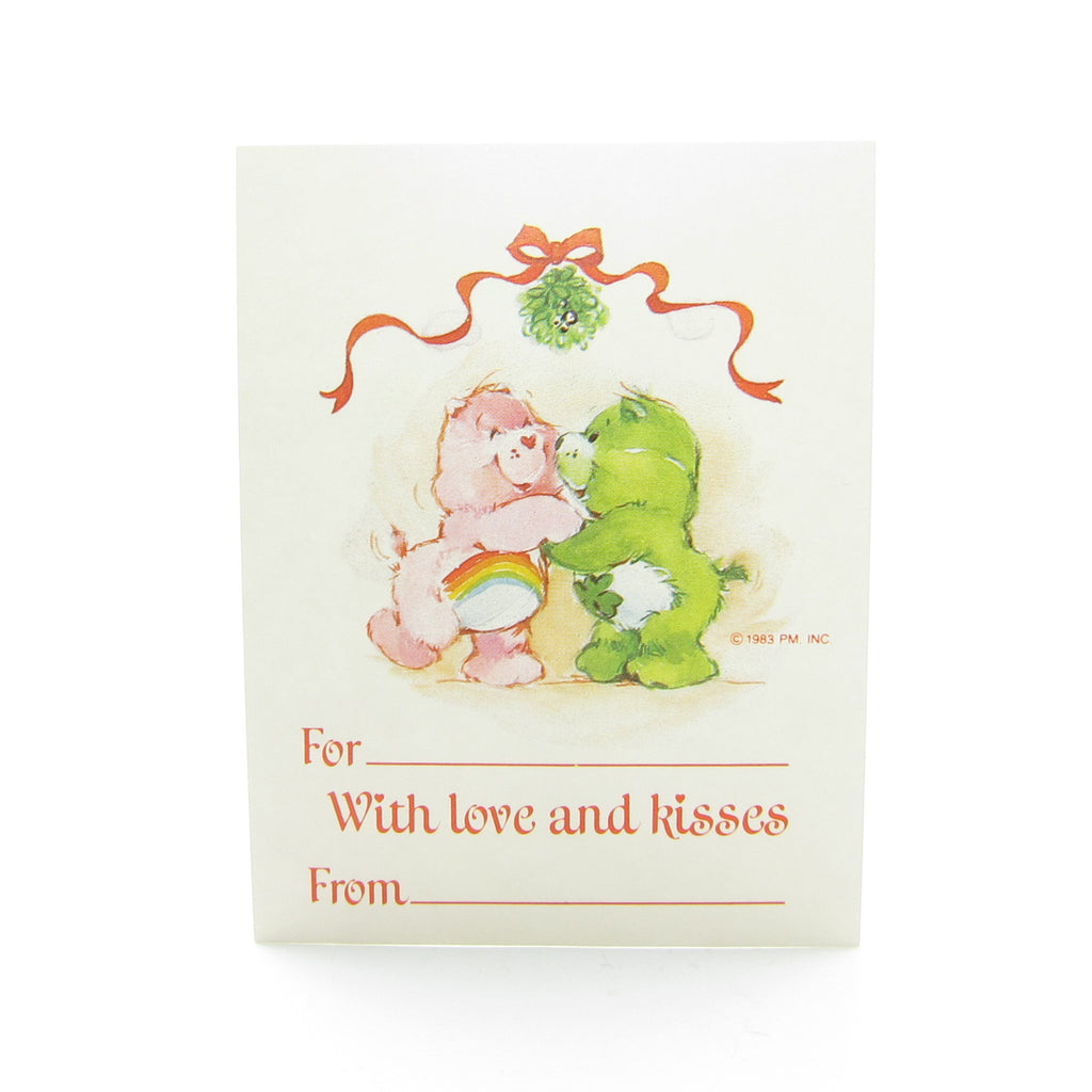 With Love and Kisses Care Bears Christmas Gift Tag with Cheer & Good Luck Bear