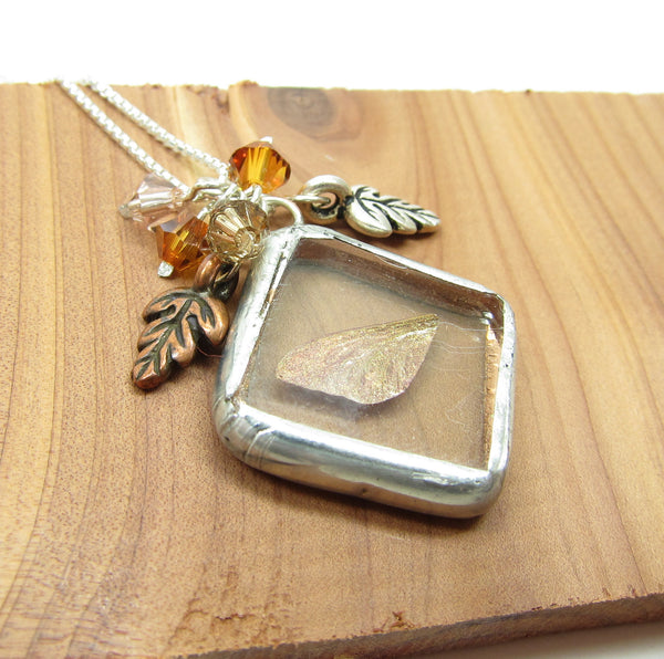 Autumn Fairy Necklace Soldered Glass Pendant With