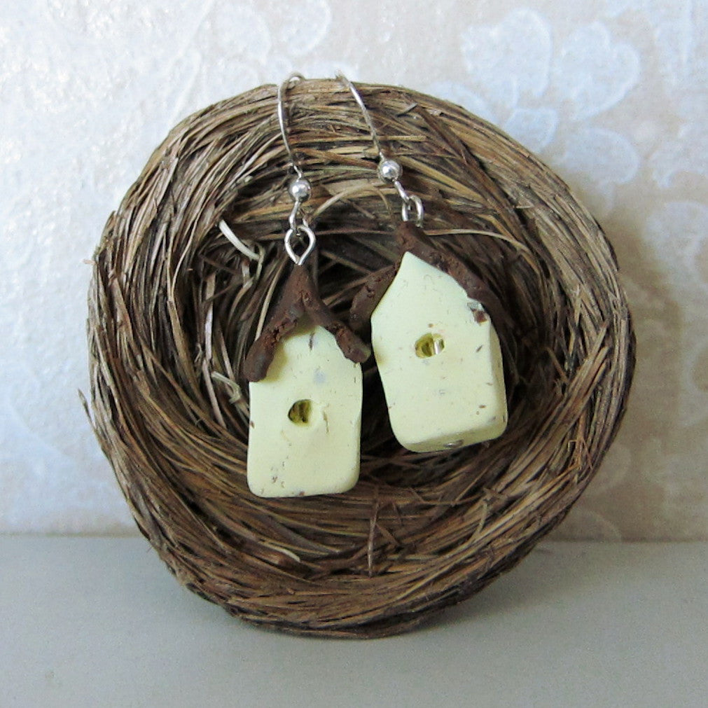 Bird House Earrings Polymer Clay Yellow Birdhouse Sterling Silver