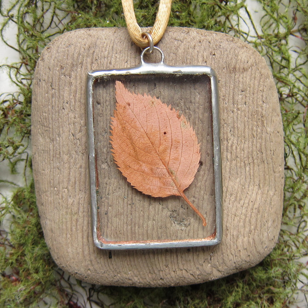 Leaf Necklace Soldered Glass Pendant with Real Yellow Brown Autumn Fall Leaf