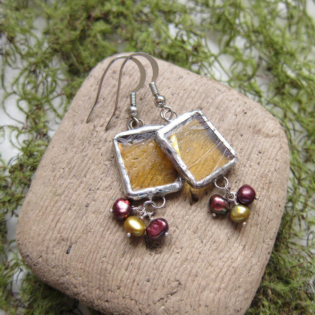Yellow Stained Glass Earrings with Freshwater Pearls
