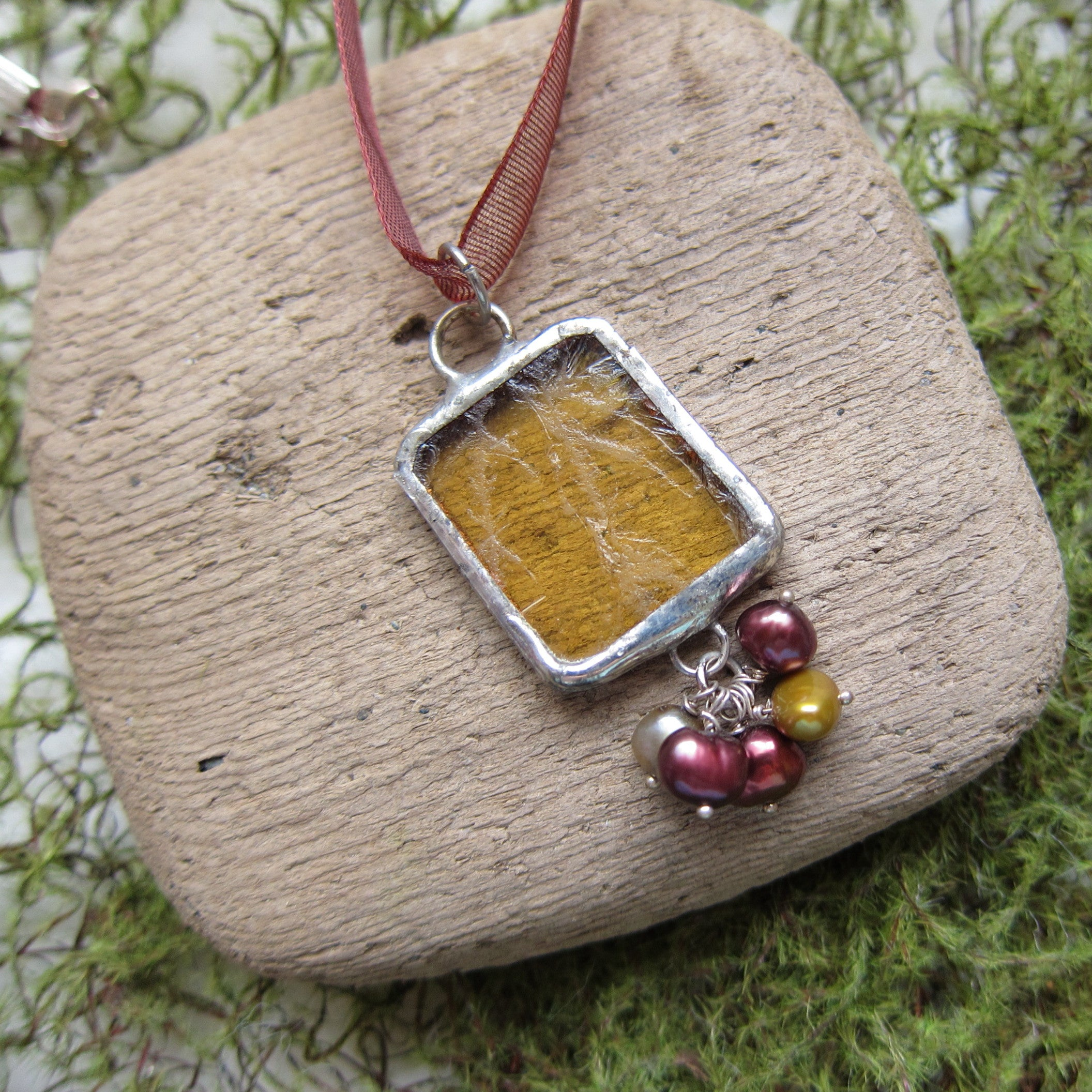 Yellow stained glass pendant necklace with freshwater pearls