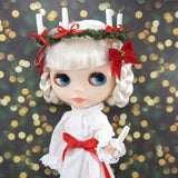 Saint Lucia's Day gown for Blythe with crown of candles