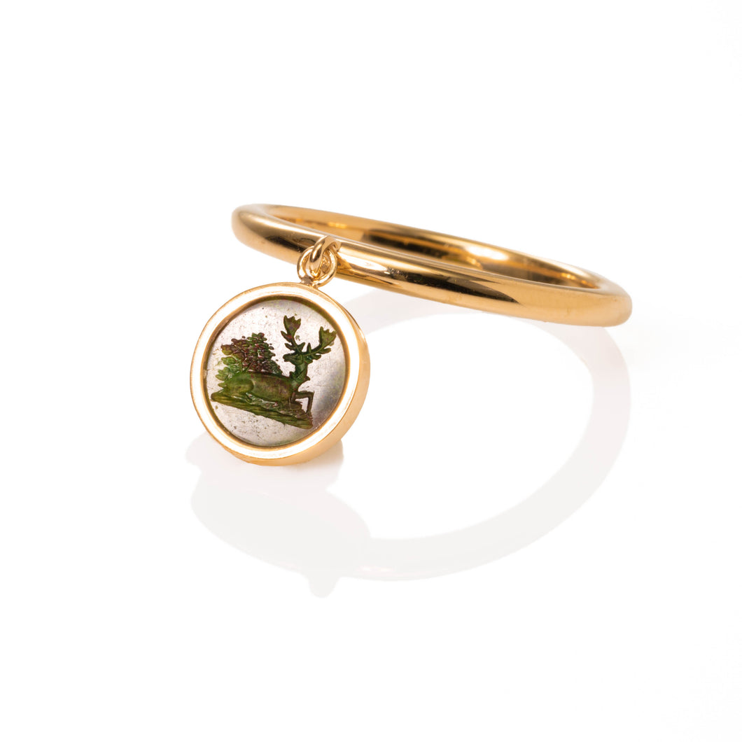 Peaceful Stag Charm ring