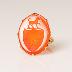 Dog, Lion & Scallop Coat of Arms-Ring-Seal & Scribe