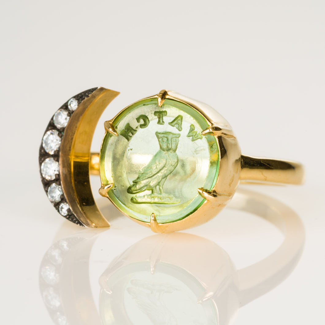 Watchful Owl Moon ring-Ring-Seal & Scribe