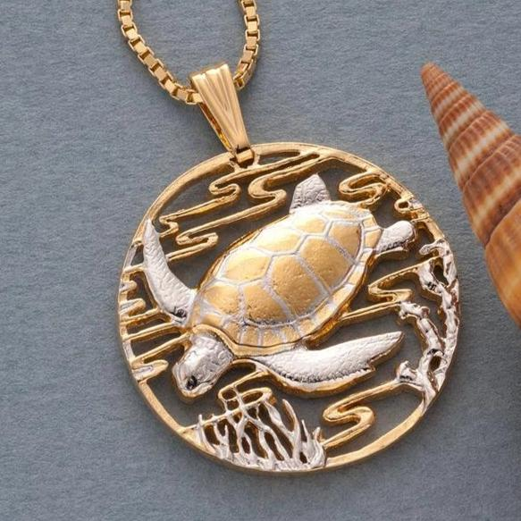 14kt Gold Sea Turtle Pendant and Necklace