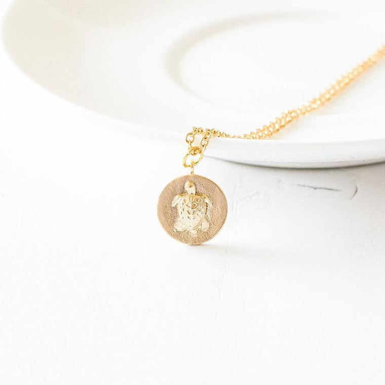 Gold Turtle Coin Necklace