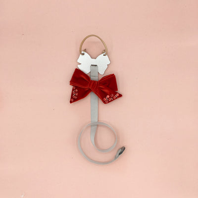 Mini Dolly Hair Clip Bow Holder/ Silver