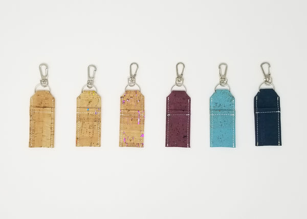 Cork Keychain Chapstick Holders