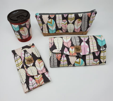 Feathers collection in Reusable Cup Cozy, Essential Oil Bag, Slimline Wallet and Necessary Clutch Wallet