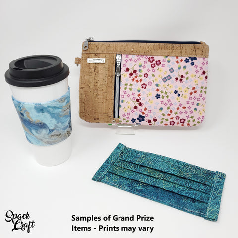 Image showing samples of Grand Prize items - a cup cozy, a zippy clutch and a pleated face mask