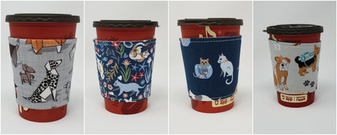 June Cup Cozy additions:  Origami Dogs, Feline Good, Are you Kitten Me?, and Teal Dogs Multi