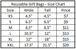 Gift Bag Size and Price chart