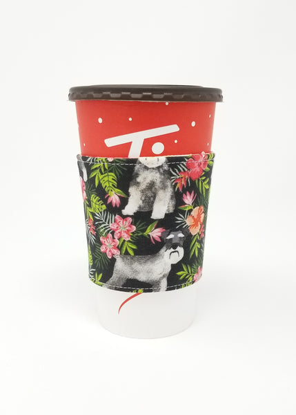 Reusable cup cozy displayed on a large Tim Horton's coffee cup - Floral Schnauzers
