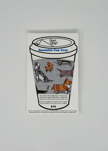 Reusable cup cozy - Origami Dogs in package
