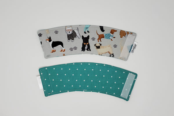 Reusable cup cozy - Teal Dogs Multi front and back