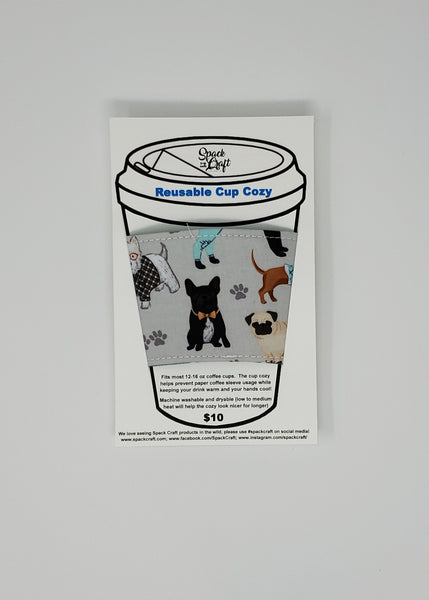 Reusable cup cozy - Teal Dogs Multi in package