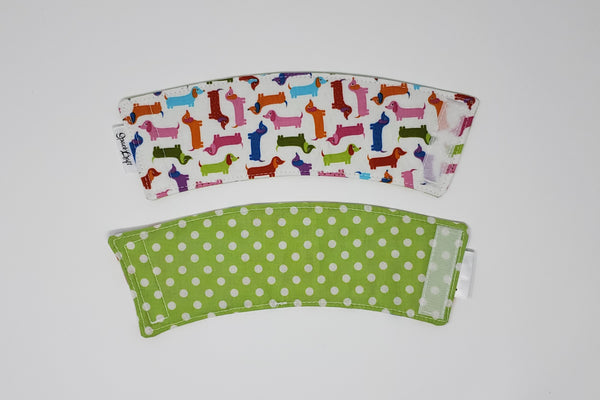 Reusable cup cozy - Spring Dachshunds front and back