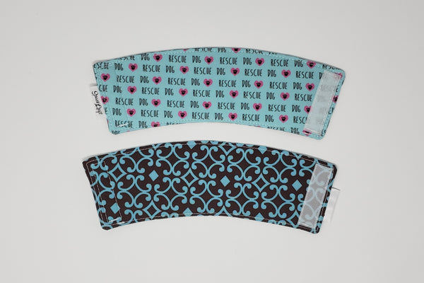 Reusable cup cozy - Rescue Dogs front and back