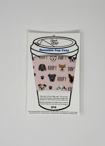 Reusable cup cozy - Adopt Don't Shop in package