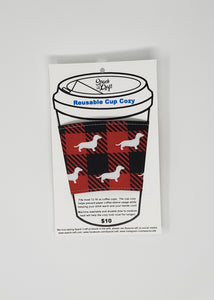Reusable cup cozy - Buffalo Plaid Dachshunds in package