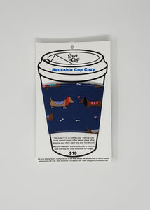 Reusable cup cozy - Blue Dachshunds and Hearts in package