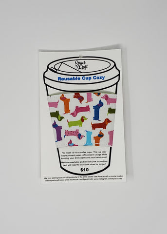 Reusable cup cozy - Spring Dachshunds in package