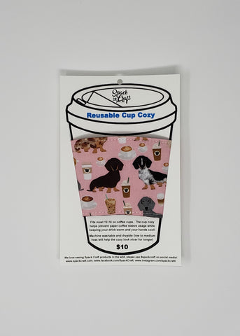 Reusable cup cozy - Coffee and Dachshunds (Pink) in package