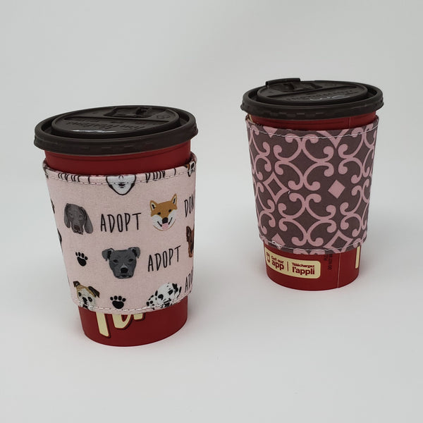 Reusable cup cozy displayed on a medium coffee cup - Adopt Don't Shop