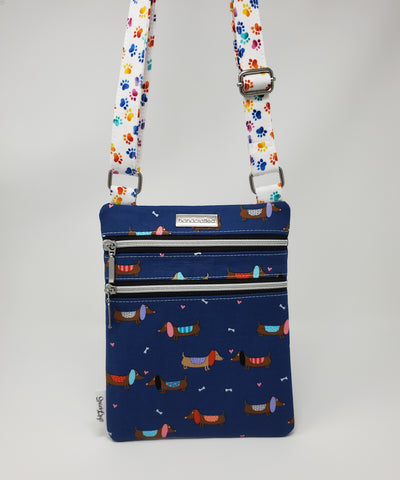 Zip and Go Purse - Blue Dachshunds and Hearts