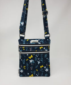 Zip and Go Purse - Navy Butterflies