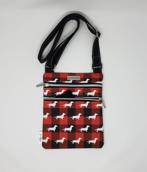 Zip and Go Purse - Buffalo Plaid Dachshunds