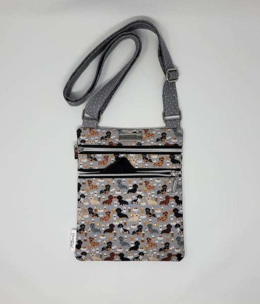 Zip and Go Purse - Coffee and Dachshunds (Grey)