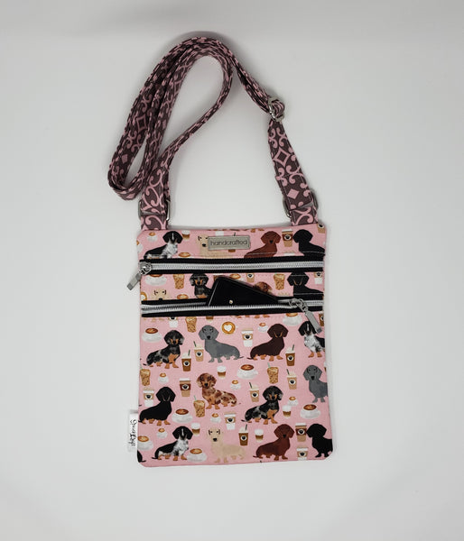 Zip and Go Purse - Coffee and Dachshunds (Pink)