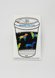 Reusable cup cozy - Tie Dyed Dog Silhouettes - in packaging
