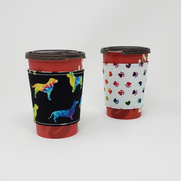 Reusable cup cozy - Tie Dyed Dog Silhouettes - Pictured on a  medium Tim Horton's cup