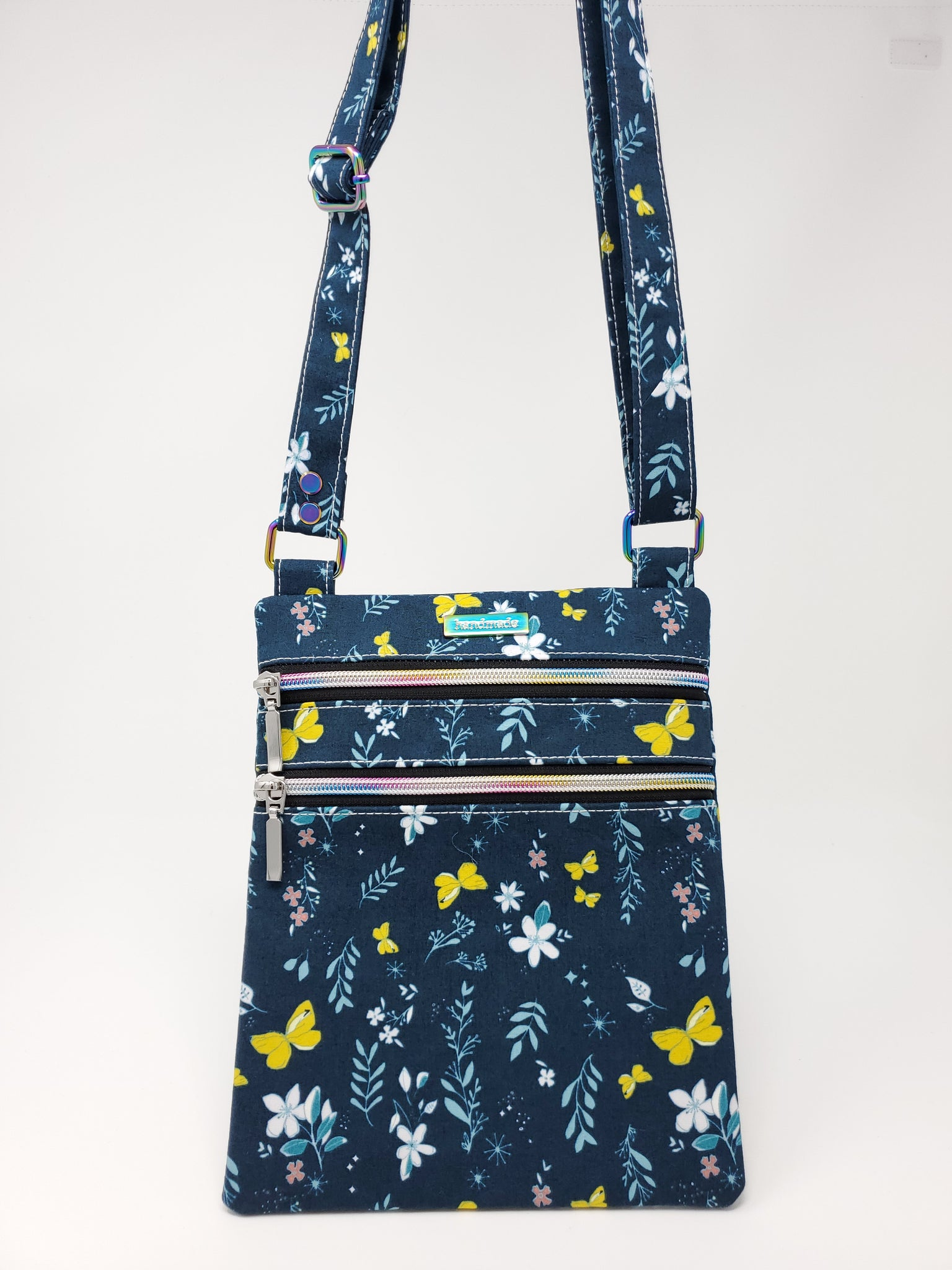 Zip and Go Purse - Navy Butterflies (custom mods)