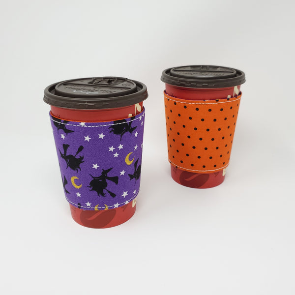 Reusable cup cozy - Witches - Pictured on a  medium Tim Horton's cup
