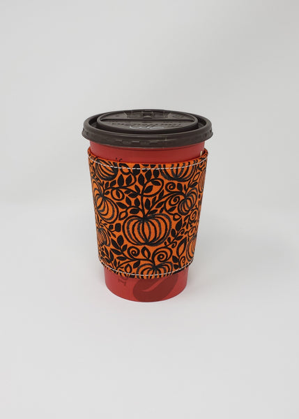 Reusable cup cozy - Sparkly Pumpkins - Pictured on a  medium Tim Horton's cup
