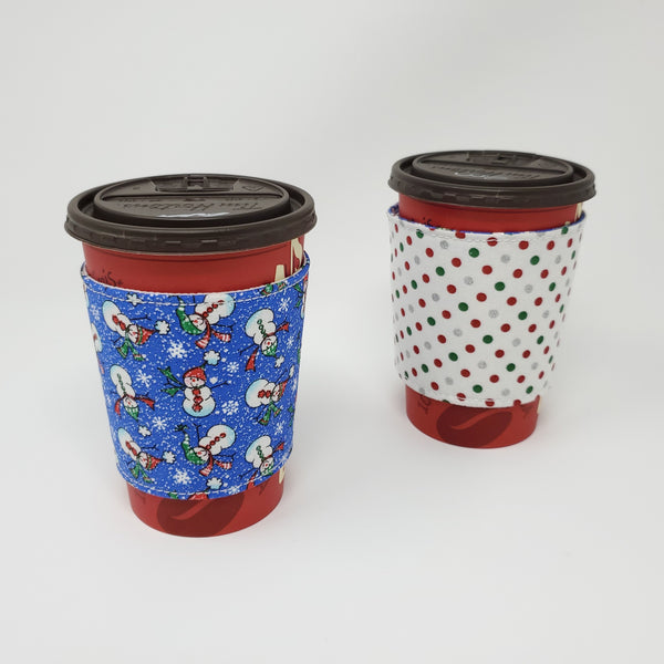 Reusable cup cozy - Sparkly Snowmen - Pictured on a  medium Tim Horton's cup