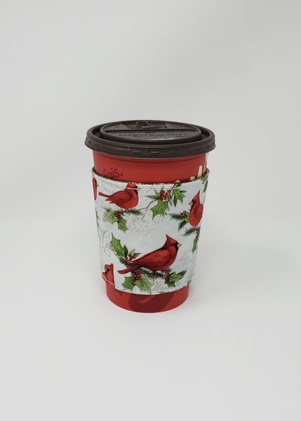 Reusable cup cozy - Winter Cardinals - Pictured on a  medium Tim Horton's cup