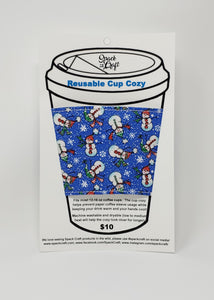 Reusable cup cozy - Sparkly Snowmen - in packaging