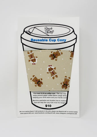 Reusable cup cozy - Gingerbread Cookies - in packaging