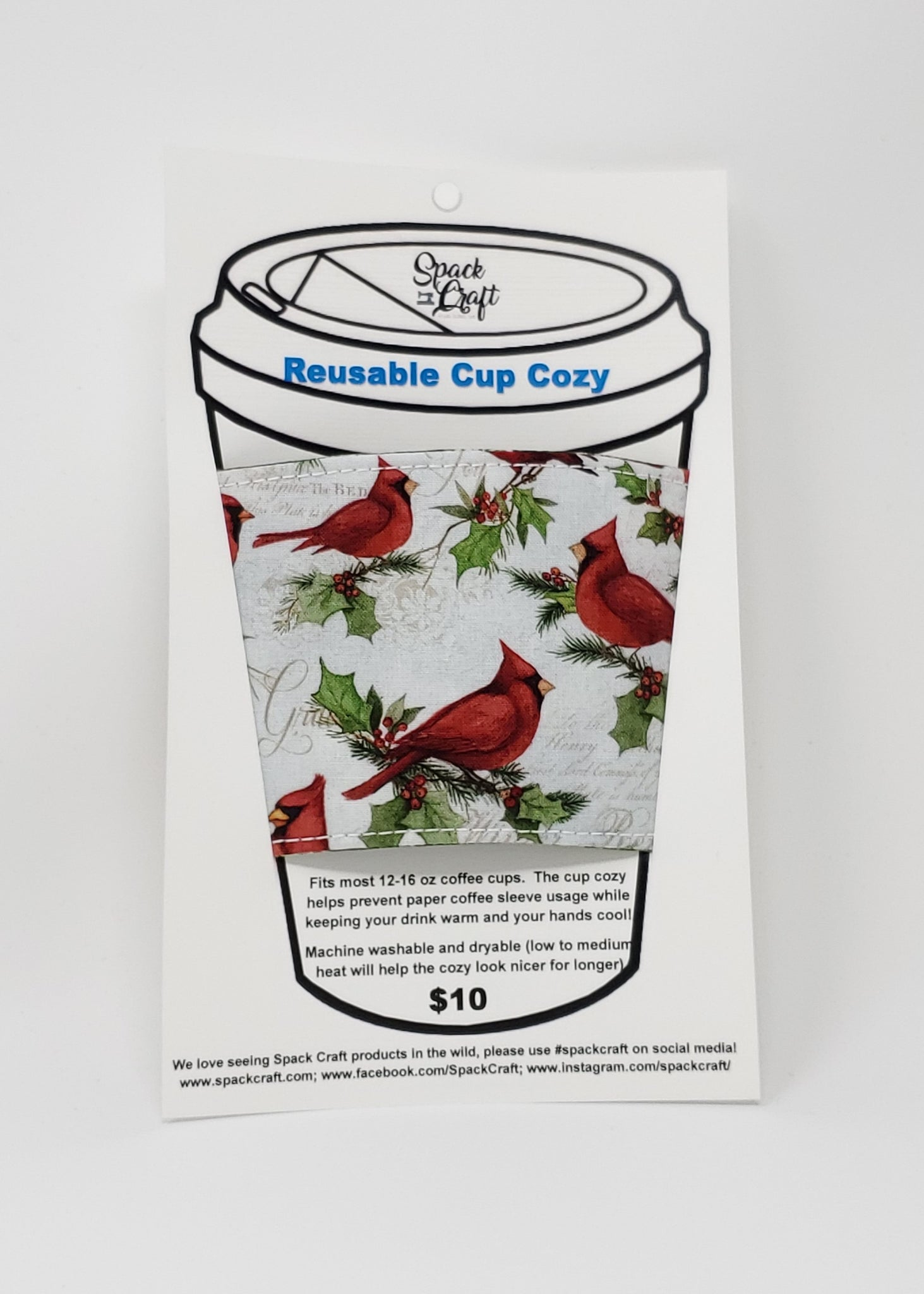 Reusable cup cozy - Winter Cardinals - In packaging