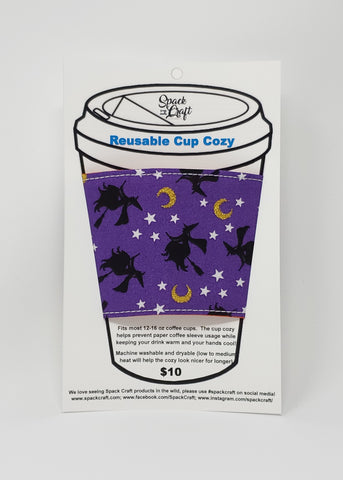 Reusable Cup Cozy - Witches in packaging