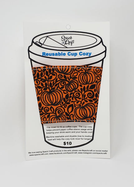 Reusable cup cozy - Sparkly Pumpkins - In packaging